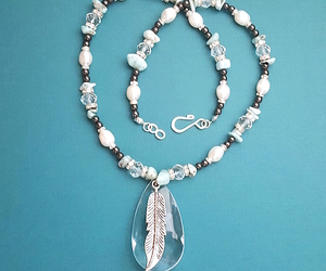 pearl necklace, larimar necklace, and caribbean larimar image