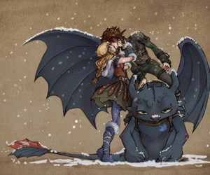 astrid, hiccup, and toothless image