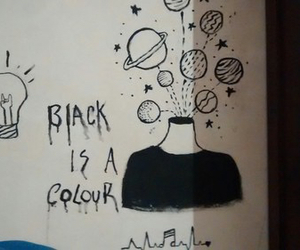 black, drawing, and colour image