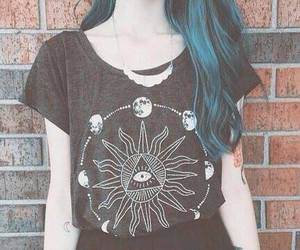 hair, black, and blue hair image