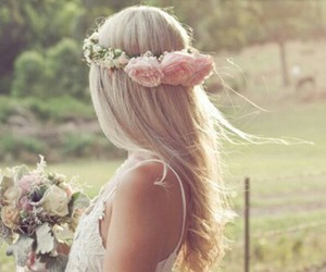beautiful, flowercrown, and girl image