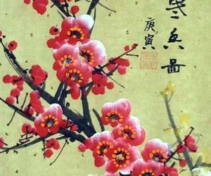 chinese art, flowers, and plum image