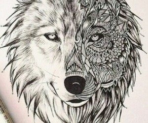 wolf, drawing, and tattoo image