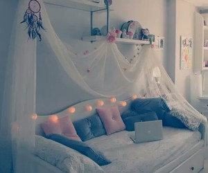 bedroom, bed, and dreamcatcher image