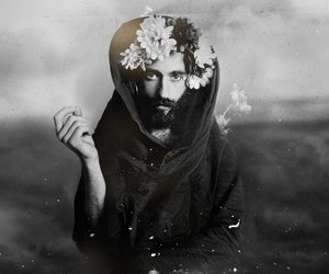 beard, black and white, and crown image