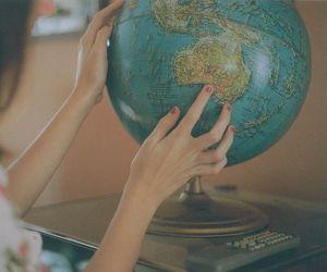 girl, world, and globe image