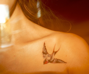 tattoo, bird, and girl image