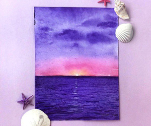 art, ocean, and purple image