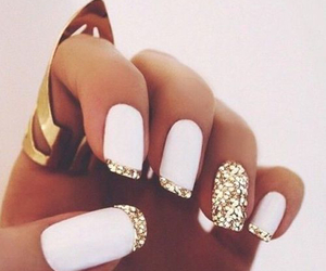 gold, long nails, and ring image
