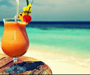 beach, summer, and cocktail image