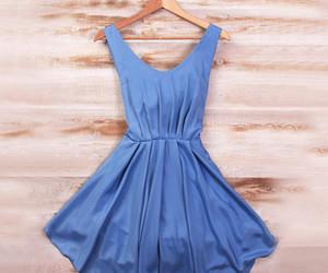 blue dress, bohemian, and summer dress image