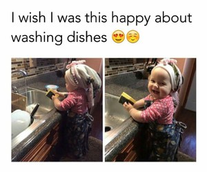 life, adorable baby, and washing dishes image