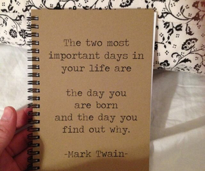 mark twain, notebook, and quote image