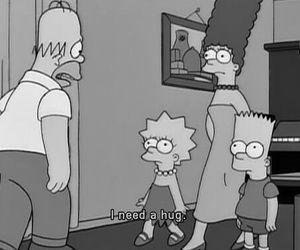 hug, simpsons, and black and white image