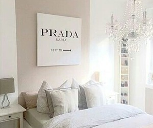 Prada, room, and bedroom image