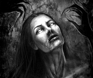 black and white, varnuak, and dark art image