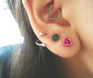 heart, piercing, and ear piercing image