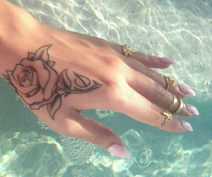 tattoo, nails, and rose image