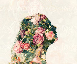background, double exposure, and flowers image