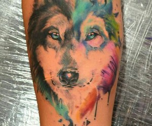 wolf, tattoo, and color image