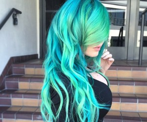 hair, green, and blue image