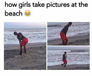 funny, girls, and beach image