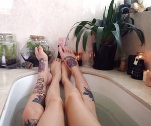 bath, Tattoos, and bathing image