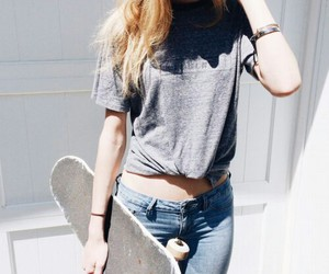 girl, skate, and jeans image