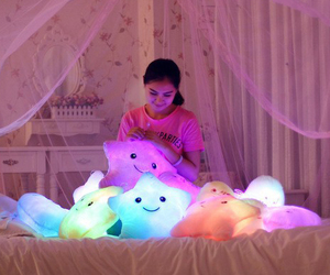 bed, decor, and glow image