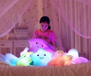bed, kawaii, and pillows image