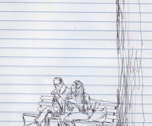 bench, drawing, and father image