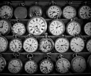 black and white, clock, and time image