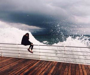 girl, waves, and sea image