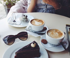 cake, cappuccino, and chocolate image