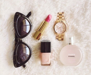 chanel, lipstick, and sunglasses image