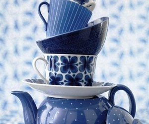 blue, tea, and girly image
