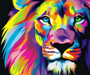 colorful and lion image