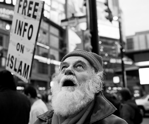 black and white, dundas square, and islam image
