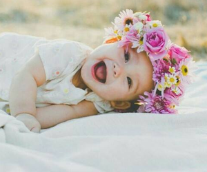 baby, cute, and flowers image