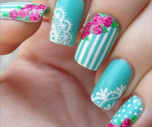 vintage flowers and nail blue image