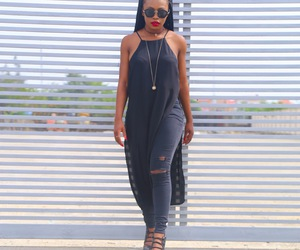 black woman, casual, and denim image