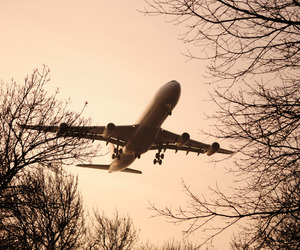 airplane, fly, and landscape image