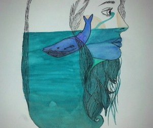 abstract, ocean, and drawing image