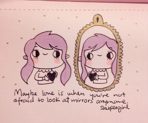 doodles, mirror, and purple hair image