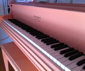 piano, pink, and music image