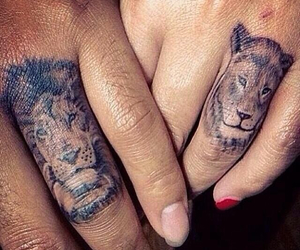 tattoo, lion, and couple image