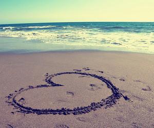 heart, beach, and love image