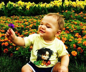bob marley, flowers, and baby image