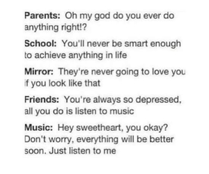 alone, music, and parents image