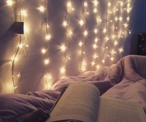 book, light, and bed image